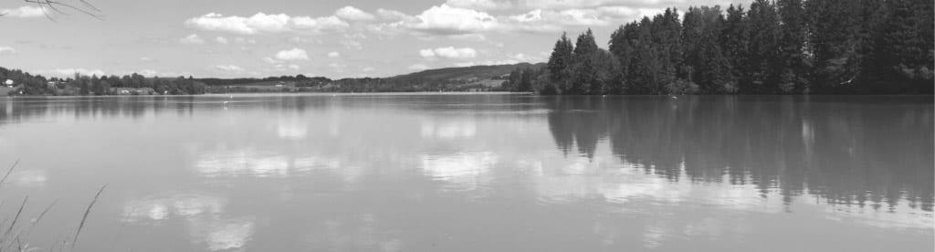 Schwarz-weiß-Panorama eines Sees mit Blick ans gegenüberliegende Ufer